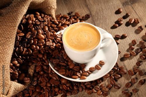 Deurstickers koffiebar frischer Kaffee aus dem Sack
