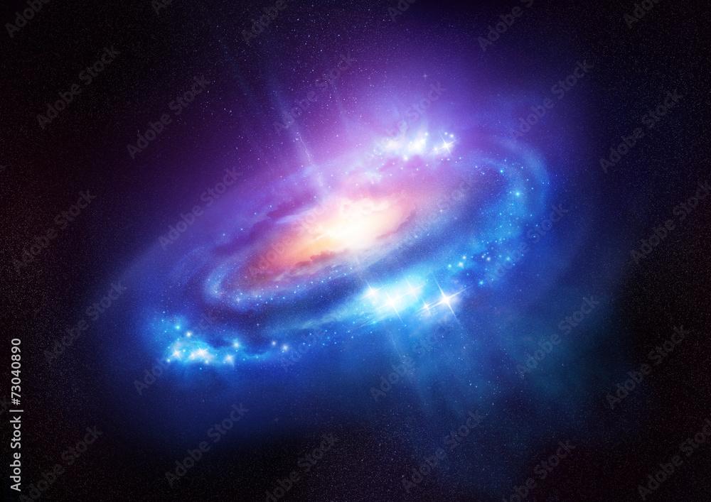 Fototapety, obrazy: Kolorowa spiralna galaktyka w kosmosie