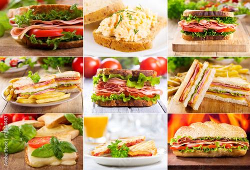 Staande foto Snack various sandwiches