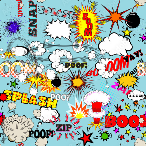 Fototapety Pop Art   vector-retro-seamless-pattern-with-bubbles-labels-logos-comic