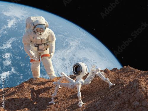fototapeta na lodówkę Astronauta i robota