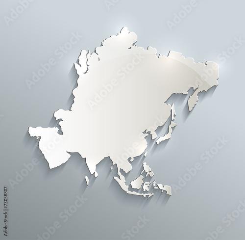 Asia map blue white card paper 3D raster Canvas Print