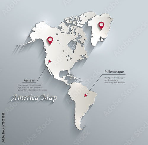Map Of America 3d Vector.America Map Blue White Card Paper 3d Vector Infographics Buy This