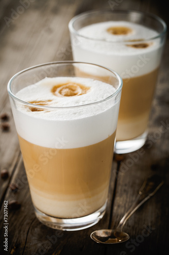 Two glasses of latte Poster Mural XXL