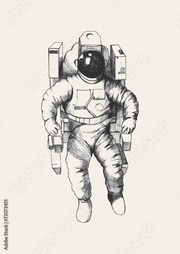 Fotografie, Obraz  Sketch illustration of an astronaut