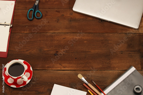 Fotografia, Obraz  Office work place supplies on wooden desk - top view