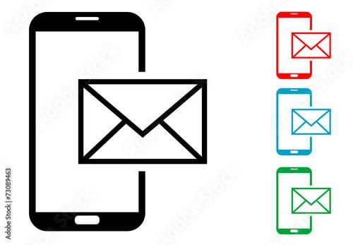 Photo Pictograma correo smartphone con varios colores