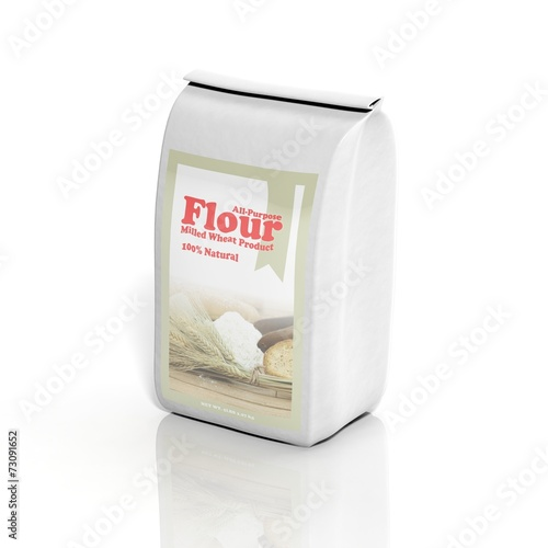 Photo 3D All-Purpose Flour sack isolated on white