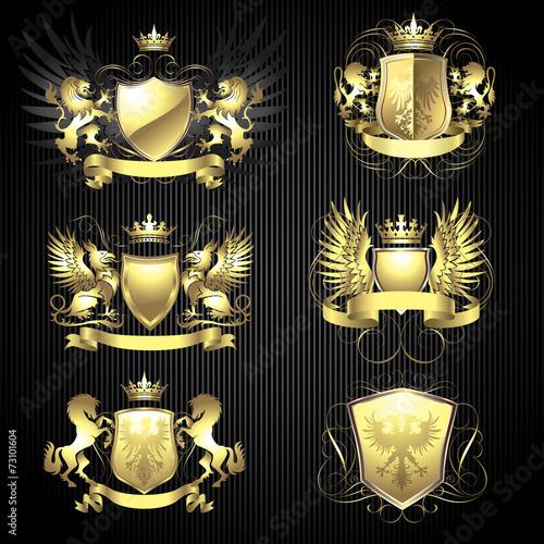 Foto  Golden heraldry set