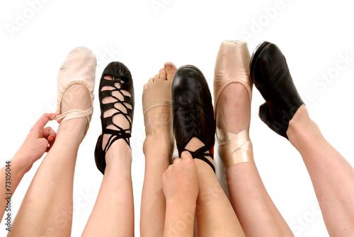 Valokuvatapetti Styles of Dance Shoes in Feet
