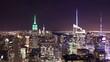 bird view ob night manhattan 4k time lapse from new york