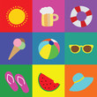 Vector collection of summer symbols