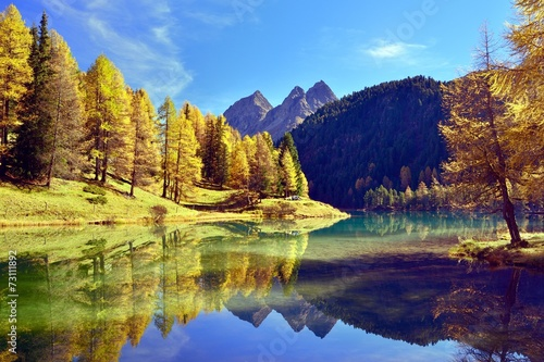Canvas Prints Photo of the day Herbstfarbene Lärchen spiegeln sich im Palpuognasee