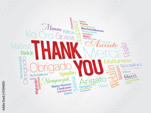 Colorful Thank You Word Cloud in different languages #73114050