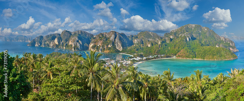 Tropical island with resorts - Phi-Phi island, Krabi Province, T Wallpaper Mural