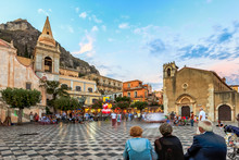 Busy Piazza IX Aprile Square In Taormina