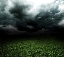 Storm Dark Clouds Over Field W...