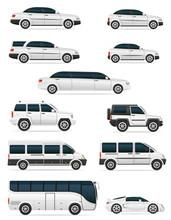 Set Of Cars For The Transportation Passengers Vector Illustratio
