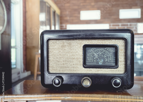 fototapeta na drzwi i meble Radio rocznika obiektu retro