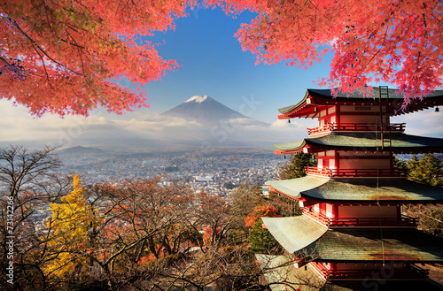 Spoed Foto op Canvas Tokyo Fuji with fall colors in Japan