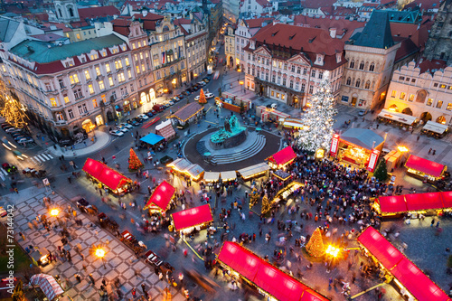 Staande foto Praag PRAGUE,CZECH REPUBLIC-JAN 05, 2013: Prague Christmas market
