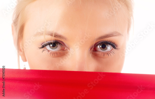 Fototapety, obrazy: Attractive woman with red tape