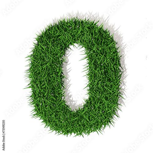 Valokuva 0 zero numero in 3d erba verde, isolato su sfondo bianco
