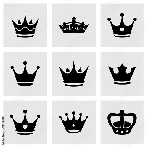 Zestaw ikon czarny wektor korony
