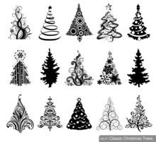 Set Of Dreawn Christmas Trees.