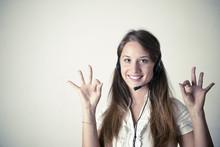 Customer Support Operator Close Up Portrait