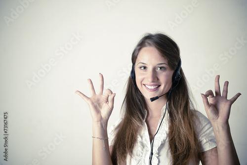 Photo Customer support operator close up portrait