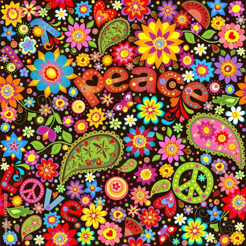 Poster  Wallpaper with hippie symbolic