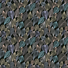 Panel Szklany Dark floral seamless pattern.