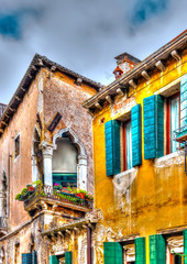 Fototapeta Kolorowe domki A beautiful old house at Venice Italy. HDR processed