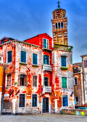 Fototapeta Kolorowe domki Beautiful old building at Venice Italy. HDR processed
