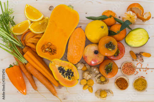 Poster Cuisine Orange vegetables and fruit