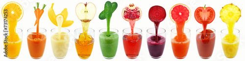 Poster Sap fruit and vegetable juices isolated on white