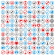 Medical icons set, vector set of 144 medical and medicine signs.