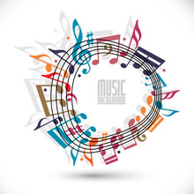 Colorful Music Background With Clef And Notes, Music Sheet In Ro