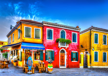Colorful Houses In A Raw At Bu...