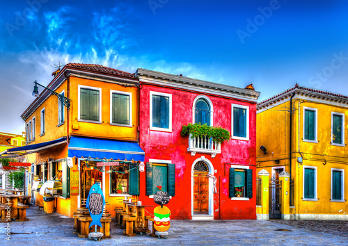 Fotomural  colorful houses in a raw at Burano island near Venice Italy. HDR