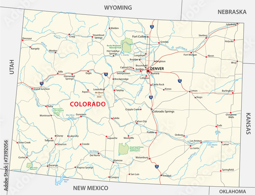 colorado road and national park map - Buy this stock vector ...