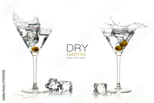 Fotografía  Dry Martini Cocktails. Splashes. Design Template