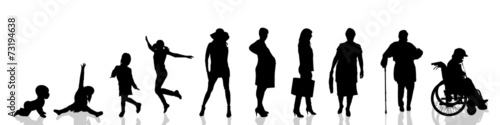 Vector silhouette of woman. Canvas Print