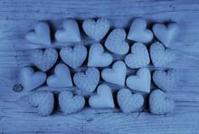 Blaue Herzen: Karte Zur Geburt...