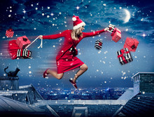 Santa Running Above The City Bringing Gifts - Santagirl 04
