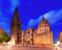 Cathedral Of Saint Mary In Evening. Toledo