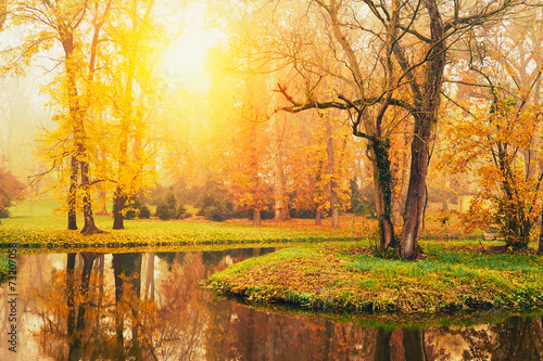 Photo Stands Melon Autumn lake in the park