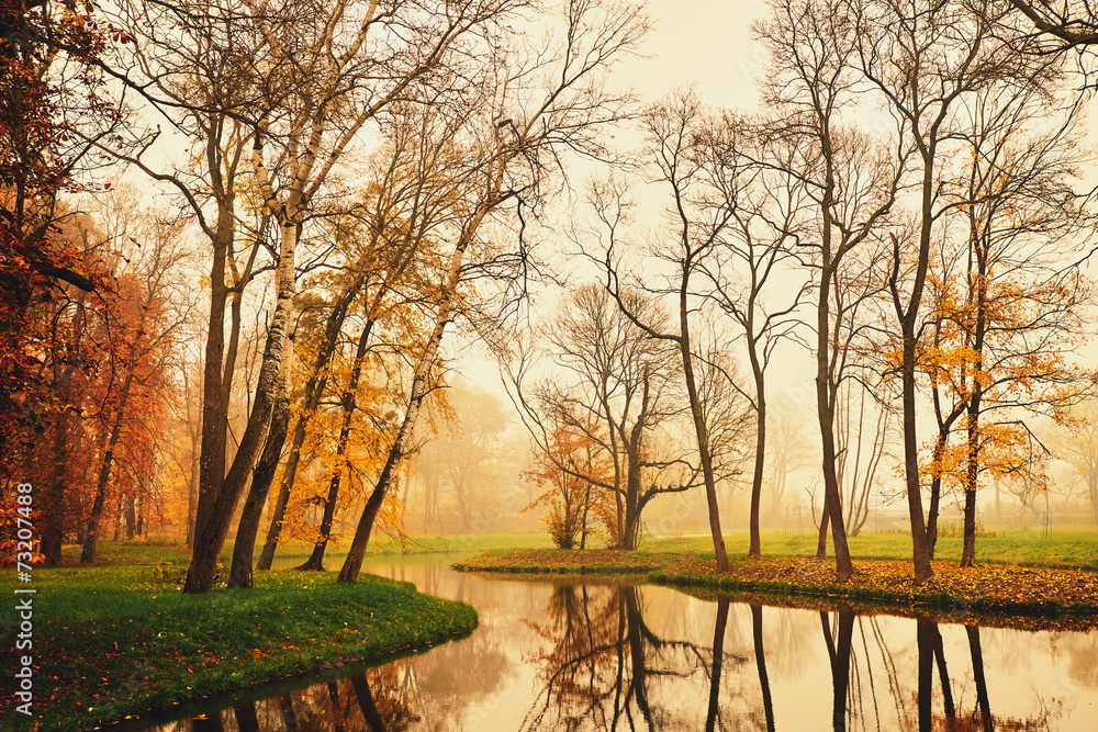 Fototapeta Autumn lake in the park