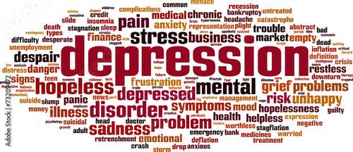 Depression word cloud concept. Vector illustration Fototapet